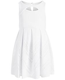 Little Girls Textured Box-Pleat Dress