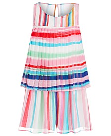 Little Girls Striped Pleated Romper