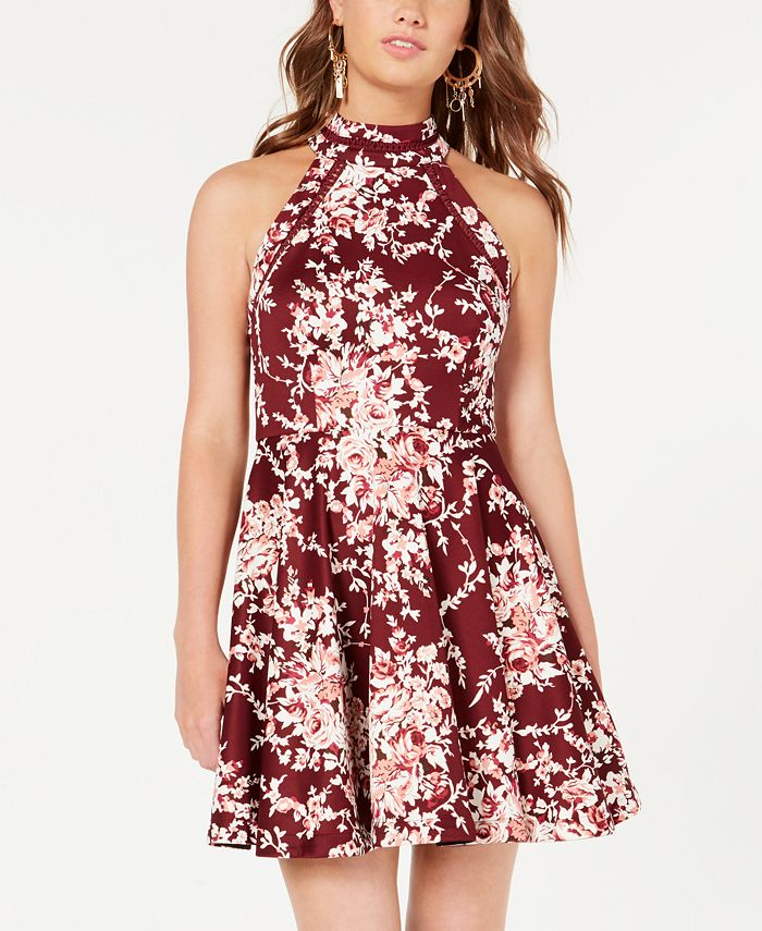 B Darlin - Juniors' Printed Mock-Neck Crochet-Trim Fit & Flare Dress