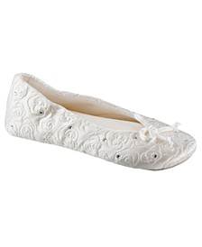 Isotoner Women's Satin with Rhinestones Ballerina Slipper, Online Only