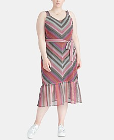 RACHEL Rachel Roy Trendy Plus Size Striped Maxi Dress