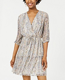 Juniors' Printed Surplice Dress