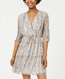 City Studios Juniors' Printed Surplice Dress