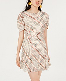 Juniors' Plaid Puff-Sleeve Dress