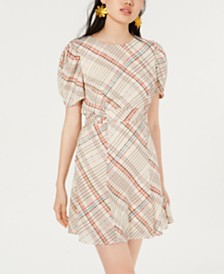 City Studios Juniors' Plaid Puff-Sleeve Dress