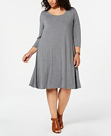 Plus Size Scoop Neck Swing Dress, Created for Macy's
