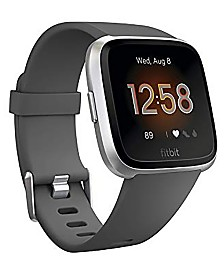 Fitbit Unisex Versa Lite Charcoal Silicone Strap Smart Watch 39mm