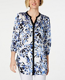 Petite Printed & Solid Blouse, Created for Macy's