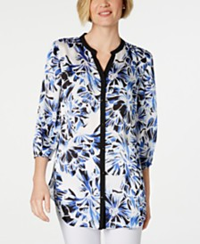 JM Collection 3/4-Sleeve Printed Tunic, Created for Macy's