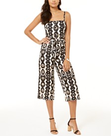 I.N.C. Petite Ikat Smocked Jumpsuit, Created for Macy's