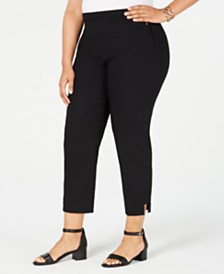 JM Collection Plus Size Split-Hem Cropped Pants, Created for Macy's