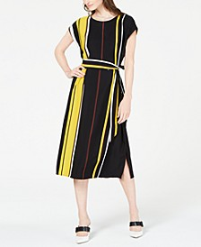 Striped Tie-Waist Midi Dress, Created for Macy's