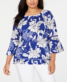 JM Collection Plus Size Printed Bell-Sleeve Top, Created for Macy's