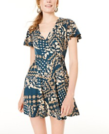 BCX Juniors' Printed Wrap Dress