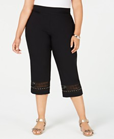 JM Collection Plus Size Crochet-Trim Capri Pants, Created for Macy's