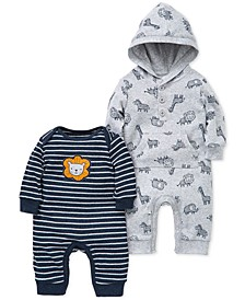 Baby Boys 2-Pk. Printed & Striped Cotton Coveralls