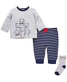 Baby Boys 3-Pc. Cotton Puppies Top, Jogger Pants & Socks Set