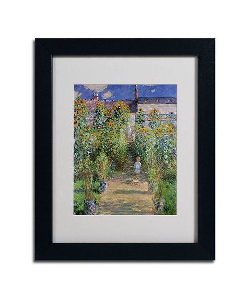 "Trademark Global Claude Monet 'The Artist's Garden at Vetheuil' Matted Framed Art - 14"" x 11"""