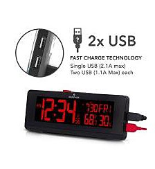 Marathon USB Clock Charger with 2 Charging Ports