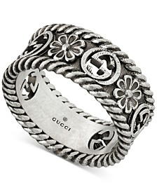 Gucci Logo & Flower Statement Ring in Sterling Silver, YBC577263001014