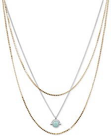"Two-Tone Stone Layered Pendant Necklace, 17"" + 3"" extender"