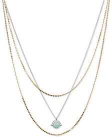 "Lucky Brand Two-Tone Stone Layered Pendant Necklace, 17"" + 3"" extender"