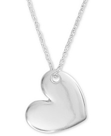 "Silver-Tone Heart Pendant Necklace, 18"" + 2"" extender"