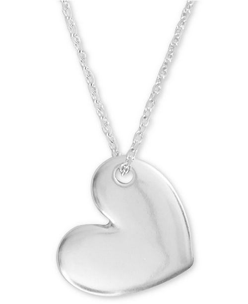 "Lucky Brand Silver-Tone Heart Pendant Necklace, 18"" + 2"" extender"