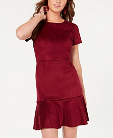 Juniors' Faux-Suede Flounce Dress, Created for Macy's
