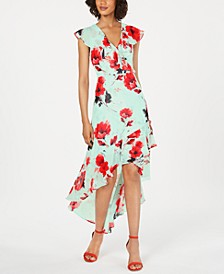 Floral High-Low Surplice Dress