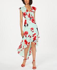 Floral High-Low Surplice Dress