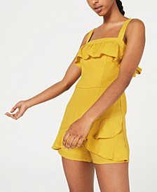 Juniors' Ruffled Skort Romper