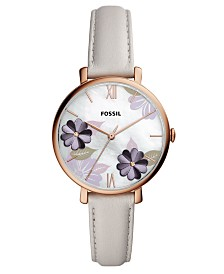 Fossil Women's Jacqueline Playful Floral Gray Leather Strap Watch 36mm