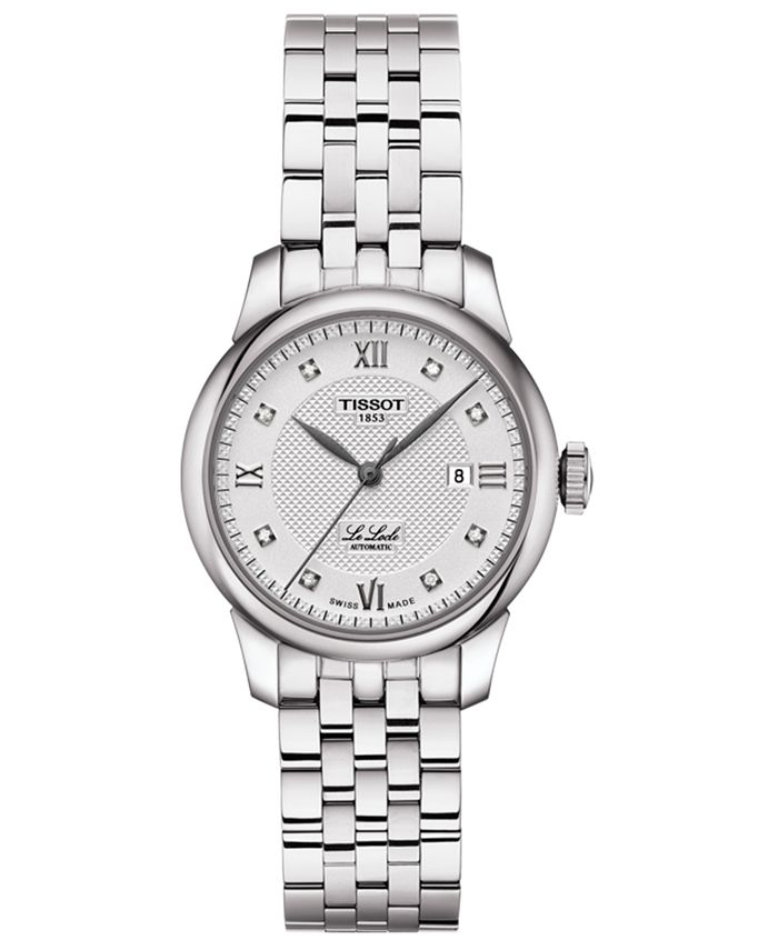 Tissot - Women's Swiss Automatic Le Locle Diamond-Accent Stainless Steel Bracelet Watch 29mm