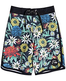 Quiksilver Big Boys Highline Floral-Print Swim Trunks