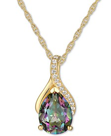 "Mystic Topaz (1-7/8 ct. t.w.) & Diamond (1/20 ct. t.w.) 18"" Pendant Necklace in 14k Gold"