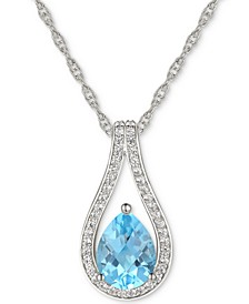 "Blue Topaz (1-1/4 ct. t.w.) & Diamond (1/6 ct. t.w.) Teardrop 18"" Pendant Necklace in 14k White Gold (Also in London Blue Topaz & Rhodolite Garnet)"