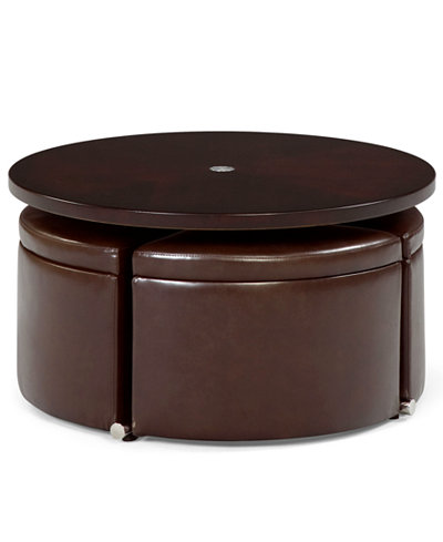 Neptune coffee table with storage ottomans furniture for Round cocktail table with stools