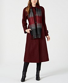 Maxi Coat & Plaid Scarf