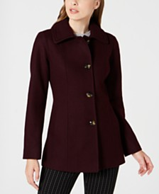 London Fog Petite Single-Breasted Double-Collar Coat
