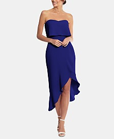 XSCAPE Petite Popover Ruffled Midi Dress