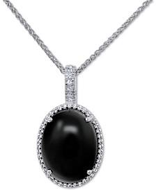 "Onyx (20 x 15mm) & Swarovski Zirconia 18"" Pendant Necklace in Sterling Silver"
