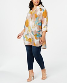 I.N.C. Plus Size Tie-Dye Tunic, Created for Macy's
