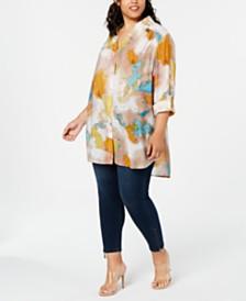 I.N.C. Plus Size Tie-Dye Tunic, Created for Macy's