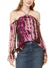 INC Cold-Shoulder Tie-Dyed Top, Created for Macy's