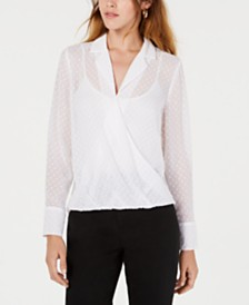 Bar III Semi-Sheer High-Low Blouse, Created for Macy's