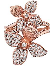 EFFY® Diamond Pavé Flower Statement Ring (3/4 ct. t.w.) in 14k Rose Gold