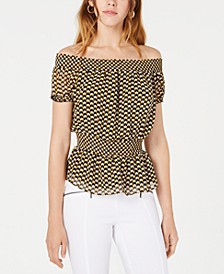 Geometric-Print Smocked Top, Created for Macy's