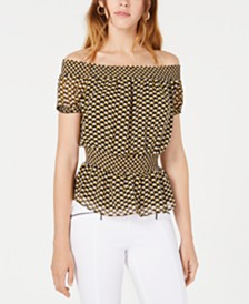 Bar III Geometric-Print Smocked Top, Created for Macy's