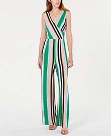 Striped Surplice-Neck Jumpsuit, Created for Macy's
